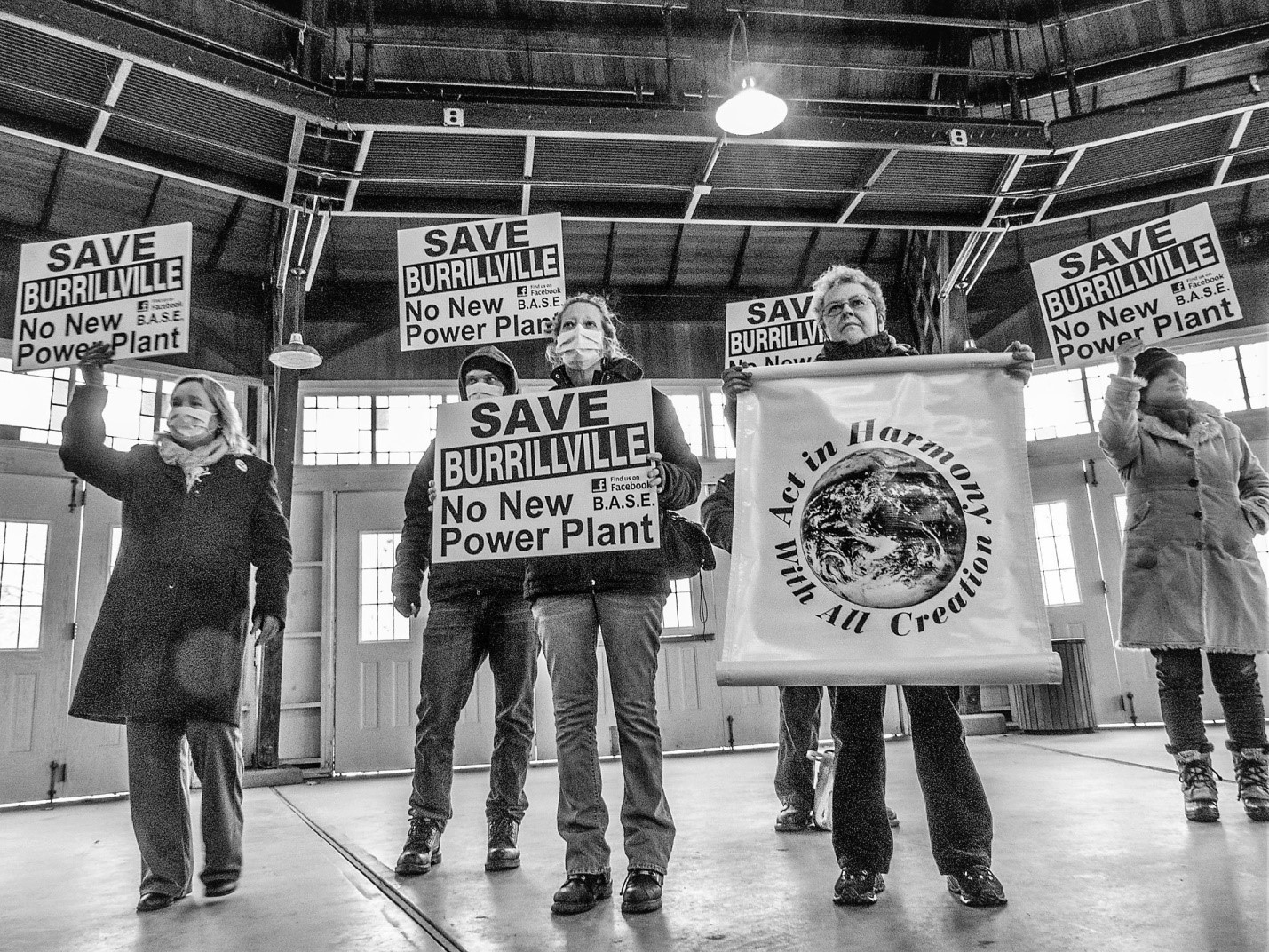 Judy Huegen, Nick Katkevitch. Kathy Martley, Sister Mary Pendergast and Sally Mendzela protest the building of a power plant in Burrillville, Rhode Island.