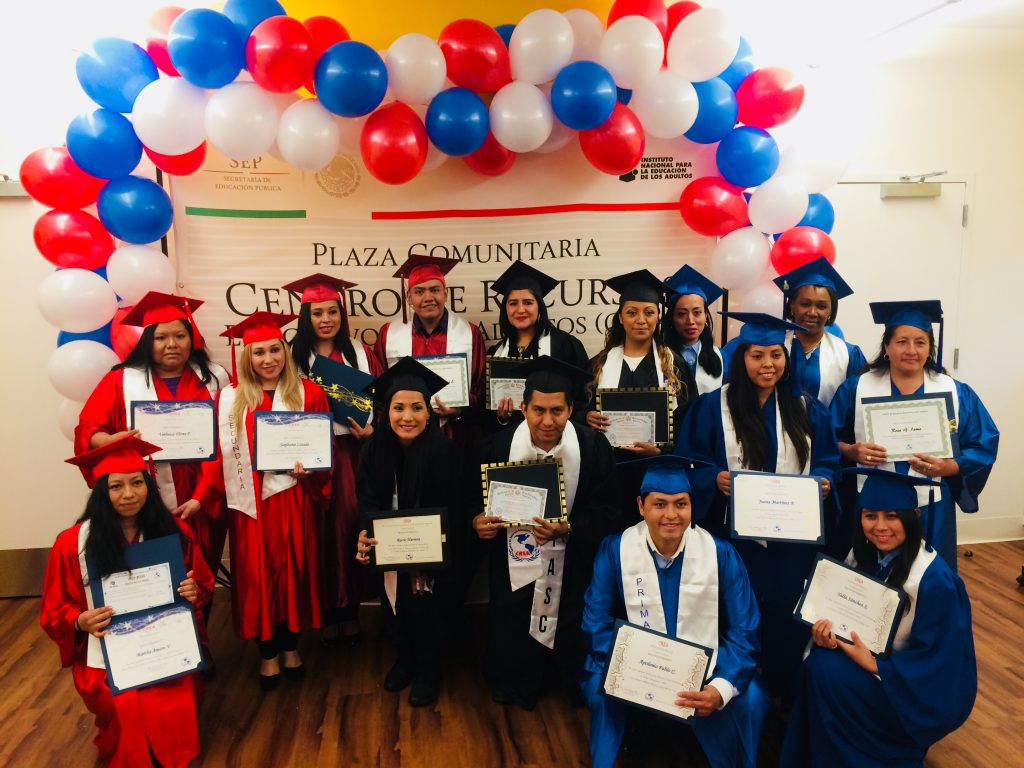 """CAPTION: Joy of accomplishment! This 2019 CREA graduation celebrated students who demonstrated proficiency at these levels: elementary (grades 1-6), secondary (grades 7-9) and high school-equivalency. The CREA community looks forward to a post-pandemic future when graduations can once again be held in-person. """"There's always lots of happy tears at the graduation ceremonies,"""" said Sister Suzanne. """"People see how far they've come with CREA's support, and they know that they can keep learning and growing."""""""